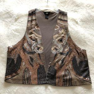 Sequin Pattern Metallic Vest, Size L